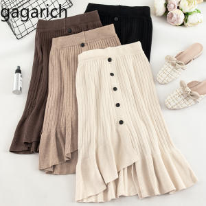 Gagarich Knitted Skirt Draped Irregular A-Line Elegant Autumn Winter Fashion Solid Ladies