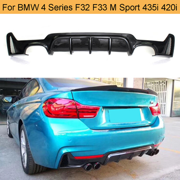 4 Series Car Bumper Lip Diffuser for BMW F32 F33 M Sport Only 14-17 435i 420i Cabriolet Four Outlet Carbon Fiber Rear Bumper Lip image