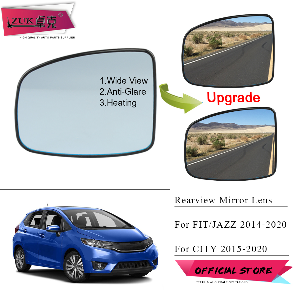 ZUK Heated Anti-Glare Wide View Car Exterior Rearview Mirror Lens For HONDA FIT <font><b>JAZZ</b></font> <font><b>GK5</b></font> 2015-2020 CITY GM6 Door Mirror Glasses image