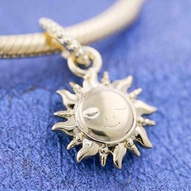 מקורי ברק נוצץ שמש עם קריסטל תליון חרוזים Fit 925 כסף חרוז קסם פנדורה צמיד צמיד Diy תכשיטים