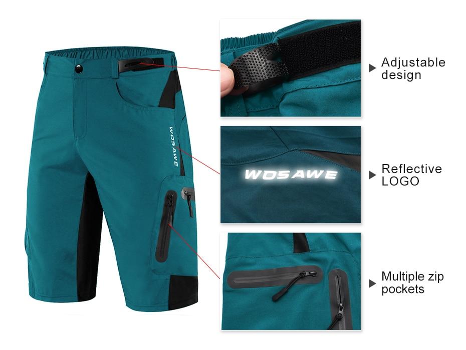 WOSAWE – Short de cyclisme rembourré et réfléchissant pour homme, idéal pour le VTT, le vélo ou l'équitation, pantalon résistant à l'eau, coupe ample style baggy