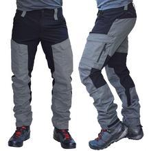 Men Fashion Color Block Multi Pockets Sports Long Cargo Pants Work Trousers Men's Tactical Work Out Quick Dry Pants