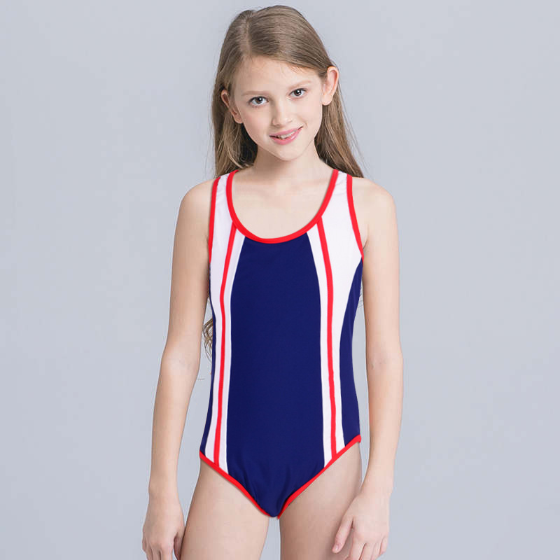 Foreign Trade Export CHILDREN'S Swimsuit Sports Student Uniform One-piece Swimming Suit Training Profession Solid Color Girls Sw