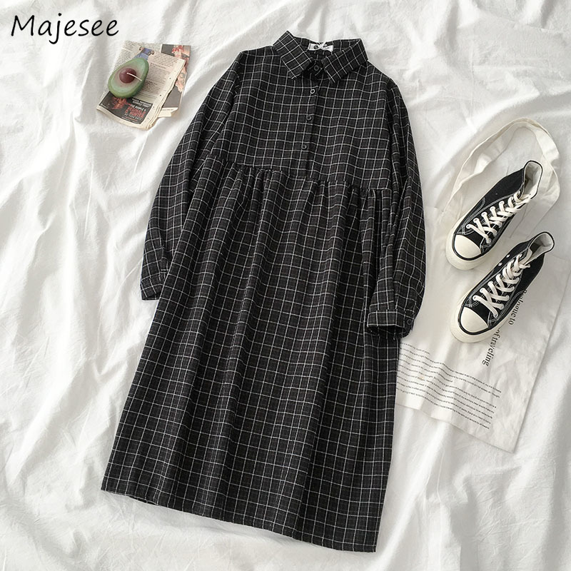 Long Sleeve Dress Women Plaid Buttons Vintage Elegant Spring Autumn Daily Women Clothing Popular Casual Retro Chic Stylish New