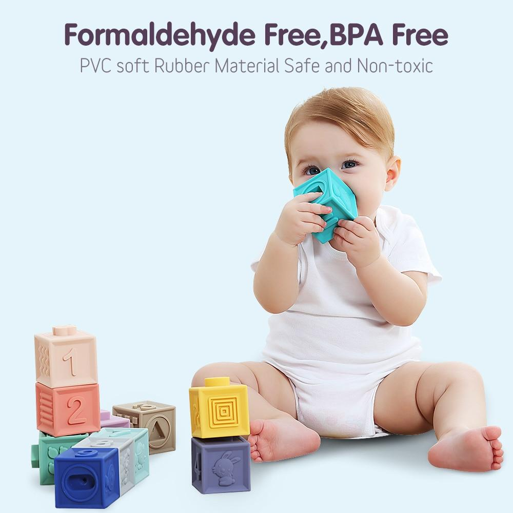 6 Pcs/12 Pcs Squeeze Toys Baby Grasp Building Blocks Touch Hand Soft Baby Teethers Massage Rubber Bath Toy