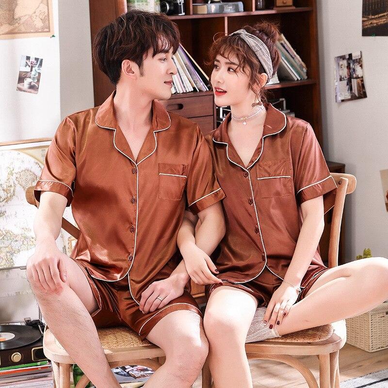 Мужские атласные пижамы установить летом случайные свободные любителей пижамы 2шт пижамы костюм ночная рубашка&шорты плюс размер Шелковая домашняя одежда