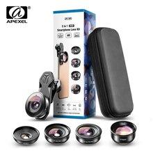APEXEL HD 5 w 1 obiektyw aparatu 4K szeroki obiektyw makro portret Super obiektyw typu rybie oko filtr CPL dla iPhone Samsung wszystkie telefony komórkowe