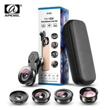 Apexel hd 5 em 1 lente do telefone da câmera 4k lente macro grande retrato super lente olho de peixe cpl filtro para iphone samsung todo o celular