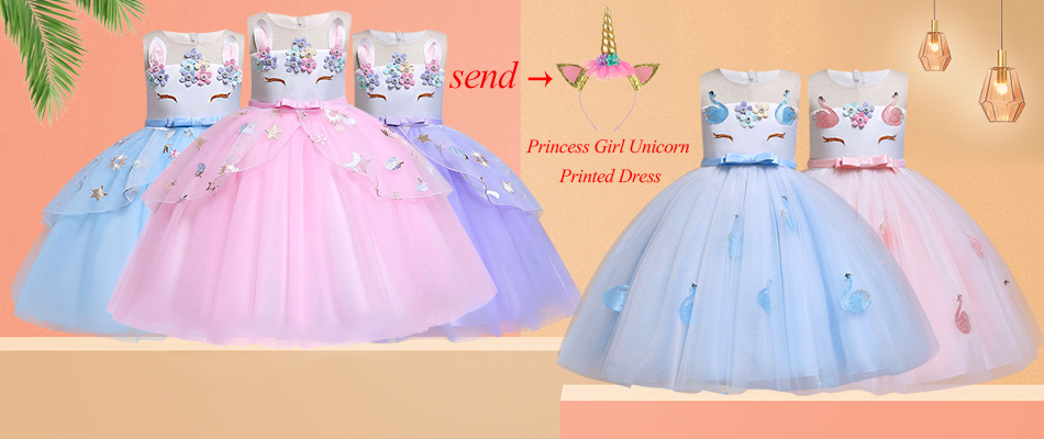 H88704c66a2ab450d8527d58afed3ff299 New Unicorn Dress for Girls Embroidery Ball Gown Baby Girl Princess Birthday Dresses for Party Costumes Children Clothing