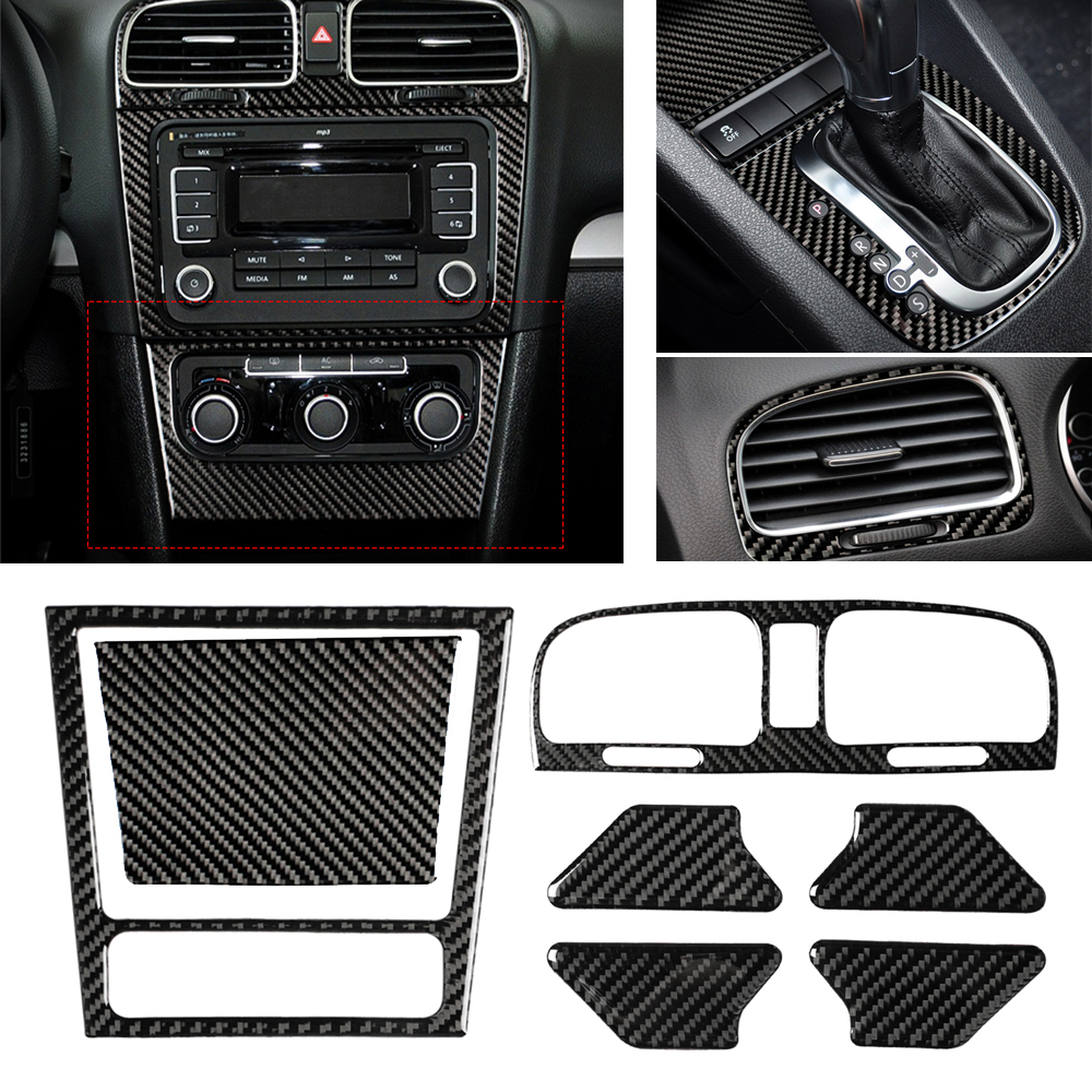 For VW Golf 6 2008-2012 gti R MK6 Scirocco Car Stickers Interior Styling Gear Shift CD Media Panel Air Vent Cover Trim Sticker image