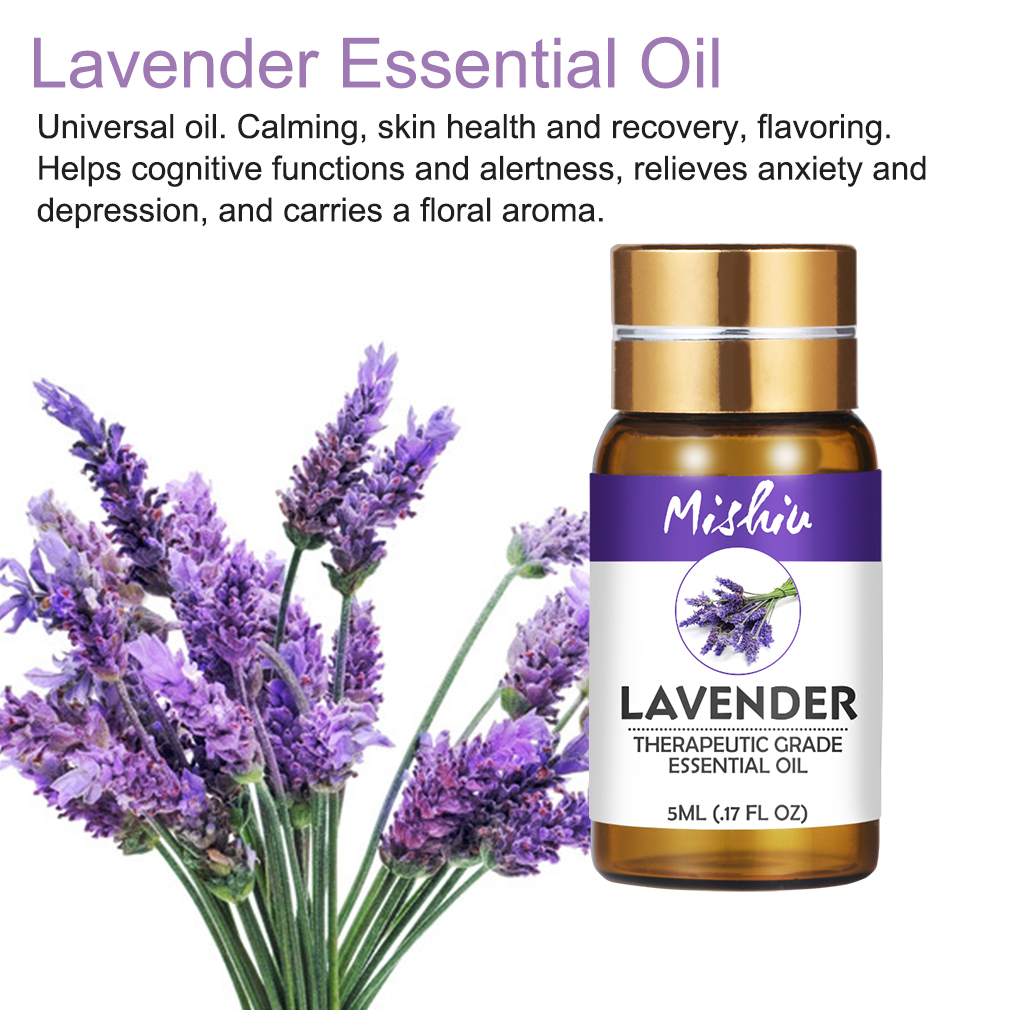 Mishiu 5ML Lavender Essential Oil Calming,Skin Health,Flavoring Relieves Anxiety Depression,Lemongrass Tree Oil Natural Air Care