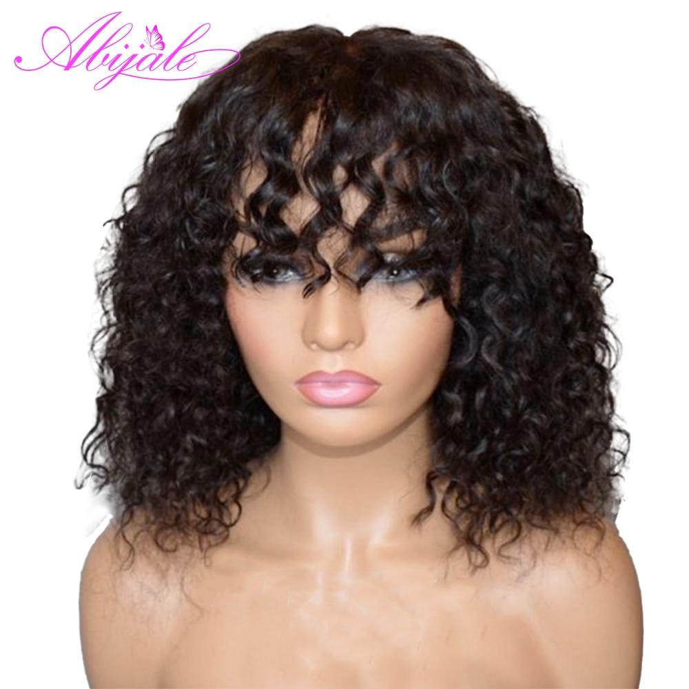 Abijale парик с глубокой волной Remy, без шнурка спереди, человеческие волосы, парики для черных женщин, сделанный парик, плотность 150%