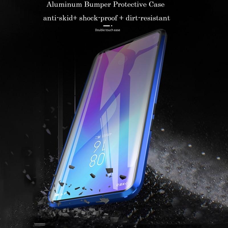 360 Full Protection Magnetic Case For Xiaomi Redmi Note 8 Pro 7 Metal Bumper Double Glass Cover For Mi Note 10 Mi 9 9T 8T funda 3