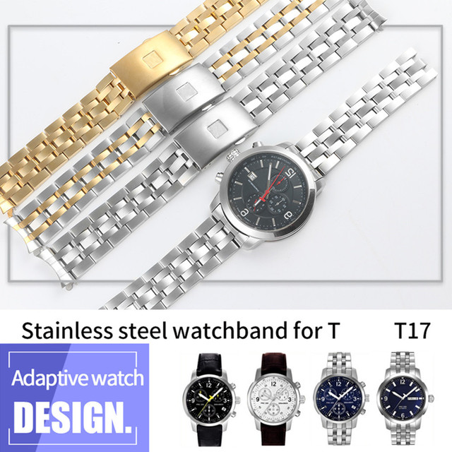 19MM 20MM Stainless Steel Watch Bands For Tissot 1853 T17 T461 T014430 T014410 PRC200 Strap Curved Watchband Silver Gold TOOLS