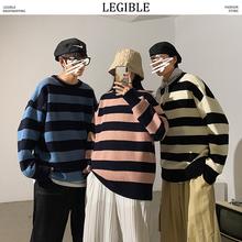 Czytelne paski męskie swetry 2020 jesień koreański styl męskie swetry Harajuku Streetwear odzież męska para sweter tanie tanio LEGIBLE CN (pochodzenie) W paski Na co dzień COTTON Komputery dzianiny O-neck Pełna NONE REGULAR STANDARD Brak Standardowy wełny