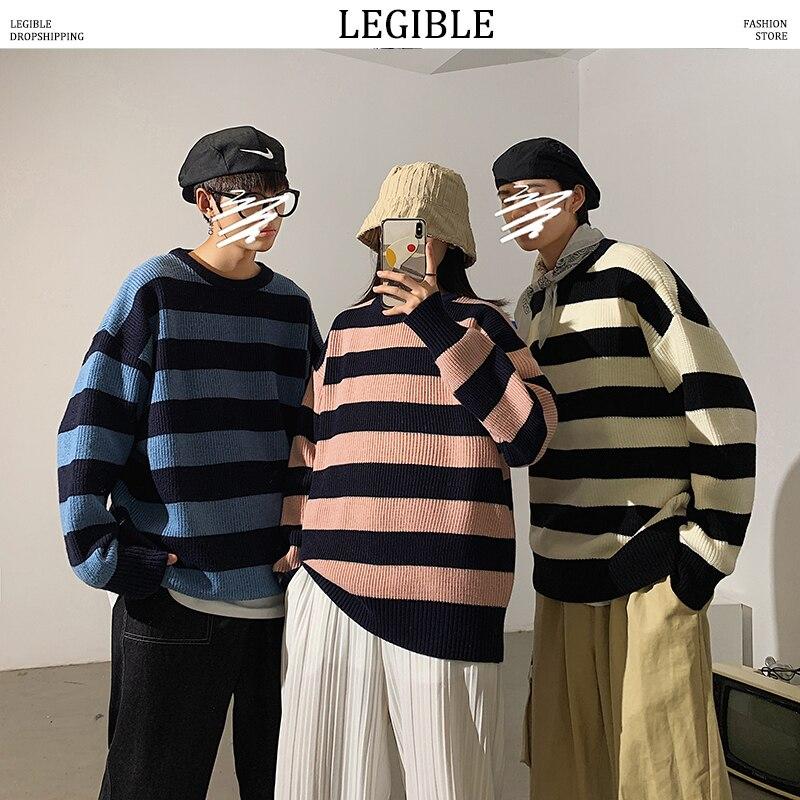 Разборчивые полосатые мужские свитера 2020 Осень корейский стиль Мужские пуловеры Harajuku уличная мужская одежда парный свитер