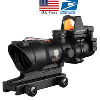 US Stock Acog 4x32 Red Fiber Source Real Fiber Scope with RMR Micro Red Dot Sight Marked Version Black Riser Optical Instrument