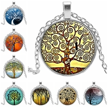 2019 New Life Tree Glass Cabochon Necklace and Pendant Jewelry Retro Silver Chain Item Gift