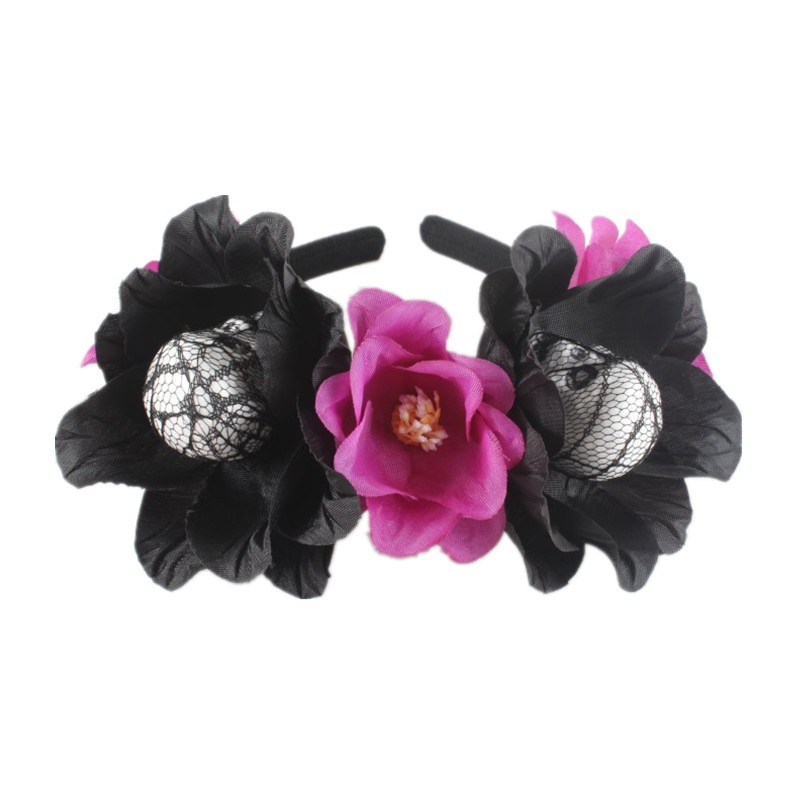 Day Of The Dead Pink Flower Petal Skeleton Skull Hair Clip Costume Accessory