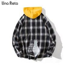 Una Reta Camisa dos homens Outono Nova Hop Homens Camisa Com Capuz Streetwear Malha Camisas casuais de Manga Longa Bonito da cópia do gato encabeça Homem