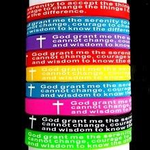 50PCS Della Miscela del lotto DIO PREGHIERA DELLA SERENITÀ Braccialetti di silicone Delle Donne Degli Uomini di Croce Braccialetti Allingrosso Gioielli Gesù