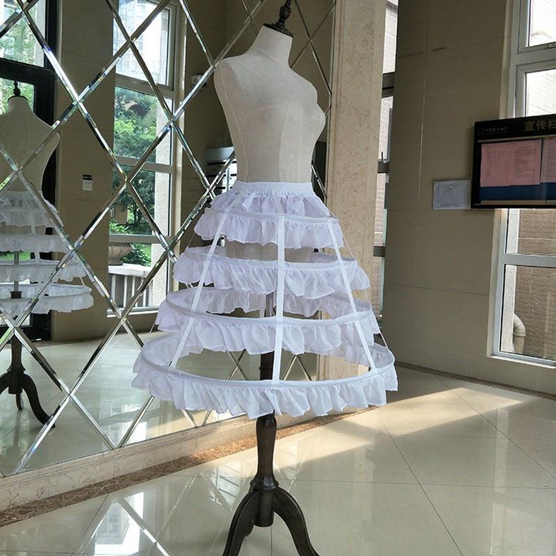 Prom Wedding Crinoline Underskirt 4 Hoops Bustle Skirt Petticoat for Lolita Victorian Gothic Dress CQ051