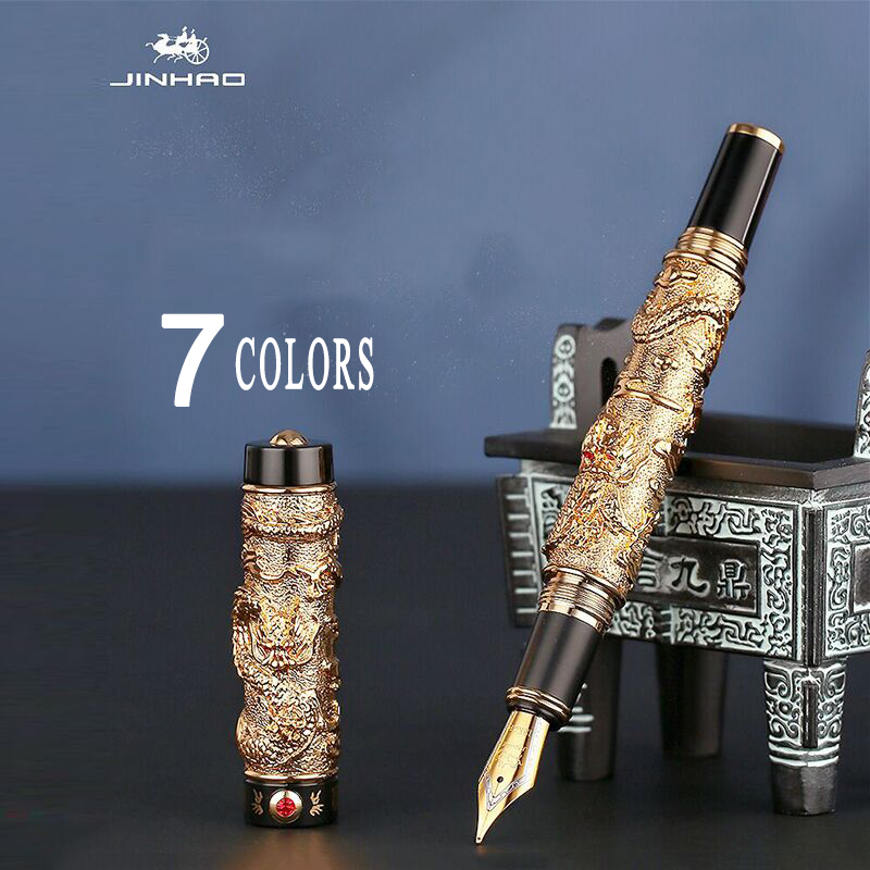 Luxury Jinhao Double Dragon Fountain Pen Writing Ink Pens Gift Iridium M Nib Advanced Craft Writing Single Or With Gift Pen Box