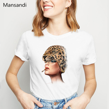 Novelty Cool Beast Maste leopard Art tshirt women plus size summer tops vogue t shirt harajuku shirt Cute Girl Casual t-shirt plus size pockets design leopard t shirt