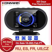 KONNWEI KW206 OBD2 على متن الكمبيوتر السيارات سيارة الرقمية شاشة عرض كمبيوتر OBD 2 الماسح الضوئي استهلاك الوقود مقياس درجة حرارة الماء