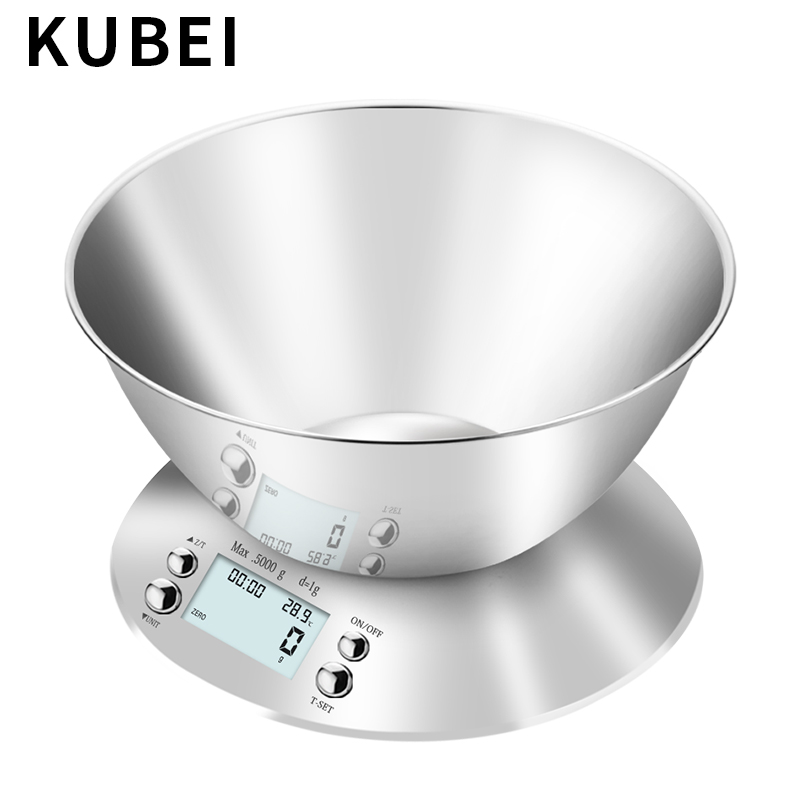 KUBEI 5kg/1g Digital Food Scale Kitchen Precision Grams Scale With Removable Stainless Steel Bowl, Alarm Timer Libra, Room Tempe