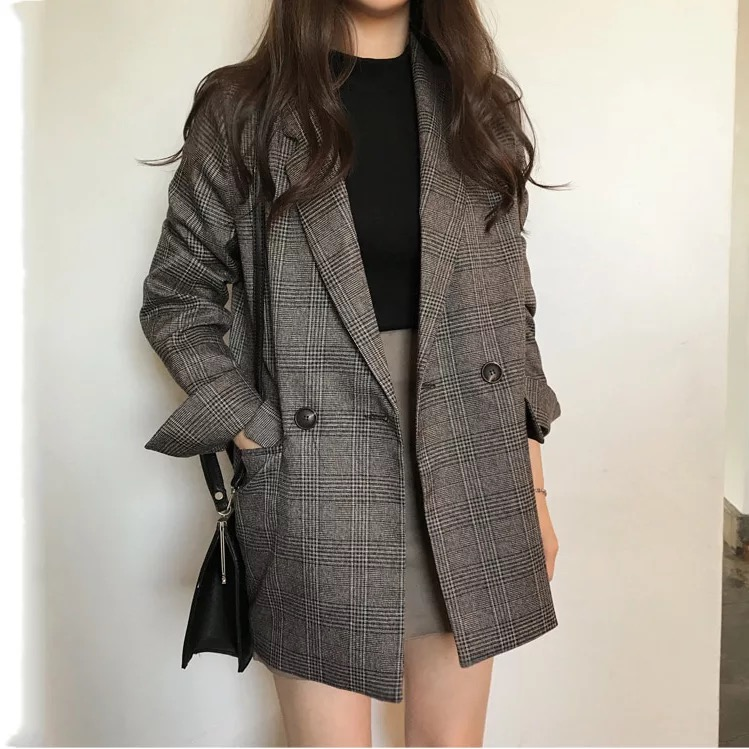 Women's Check Long Sleeve Cotton Jacket Causual Vintage Coat Plaid  Blazer