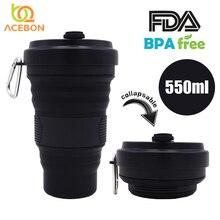 Tazas plegables de silicona de 550ml, tazas portátiles de silicona telescópicas para beber, taza de café de sílice plegable con tapas, para viajar, todo en negro