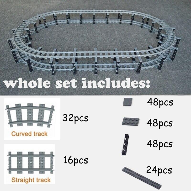 City Train Flexible Tracks Trein Double Layer Track  Rail Straight Curved Rails Building Block Brick Model Compatible All Brands
