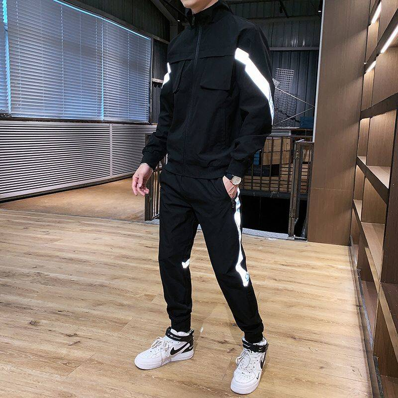 Spring And Autumn Sports Suit Casual Young Men's Jacket Korean Trend Jacket Autumn Long-sleeved Cardigan Two-piece Men