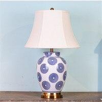 American Style Blue Round Pattern Ceramic Table Lamp For BedRoom Bedside Living Room Foyer Study Desk Reading Night Light LD176