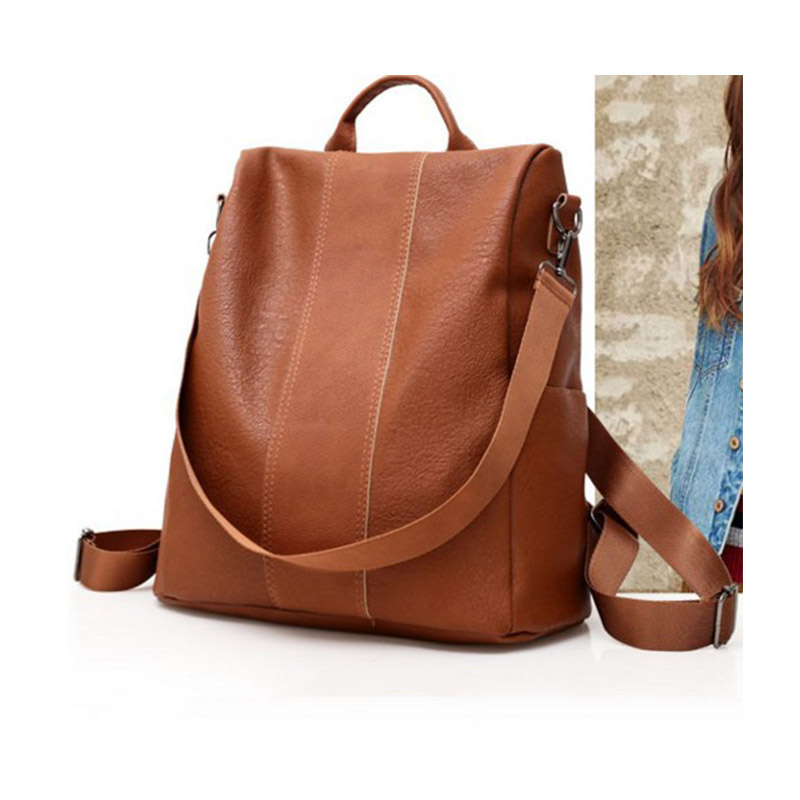 Double Shoulder Bag Anti-theft Leisure Breathable Vintage Backpack Solid Color Outdoor Travel Back Fashionable And Versatile Bag