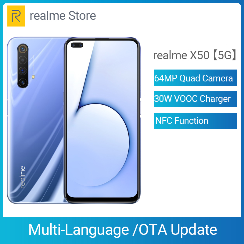 Realme X50 X 50 5G 8GB 128GB 6.57'' Moblie Phone Snapdragon 765G Octa Core 64MP Quad Camera Cellphone VOOC 30W Fast Charger