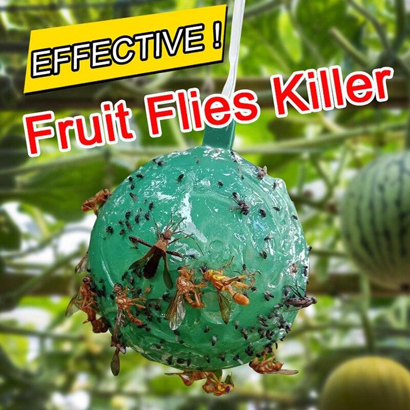 1 adet asılı sinek kapanı topu meyve sinek yakalayıcı yapışkan tuzak Fly açık tek kullanımlık eşek arısı meyve sinekler böcek tutkal Catcher yapışkan