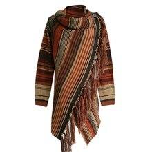 Женские свитера большого размера, вязаные, с открытым стежком, в полоску, Женский Повседневный свитер-накидка, пуловер с неровным подолом
