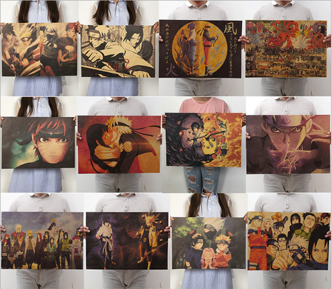 New Naruto Poster Vintage Classic Anime Cartoon  Kraft Paper Poster Painting Wall Stickers Home Decorative