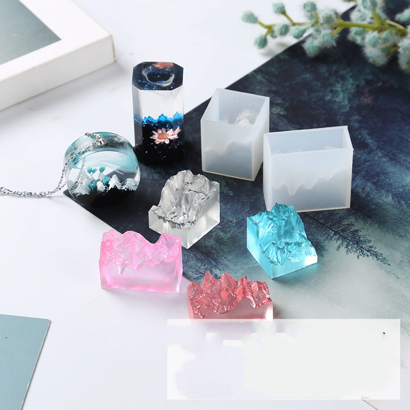 Double-sided Mountain Mold UV Epoxy Resin Mold DIY Handmade High Mirror Silicone Pendant Molds Jewelry Tools Making Crafts