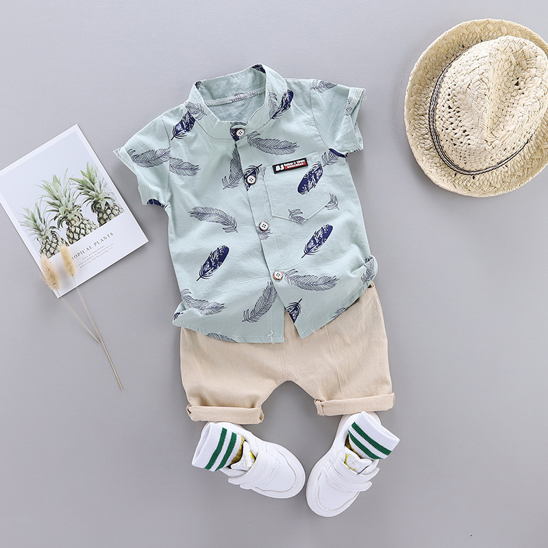Summer Shirt Set For Toddler Baby Boy Clothing Suit New Fashion Feather Print Set Infant Boys Clothes Set
