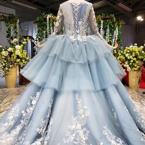Image 2 - HTL908 الضوء الأزرق الكرة ثوب 2020 Quinceanera فستان بأكمام طويلة الكرة ثوب الحلو 16 فستان يزين فساتين لحضور الحفلات الموسيقية Vestidos