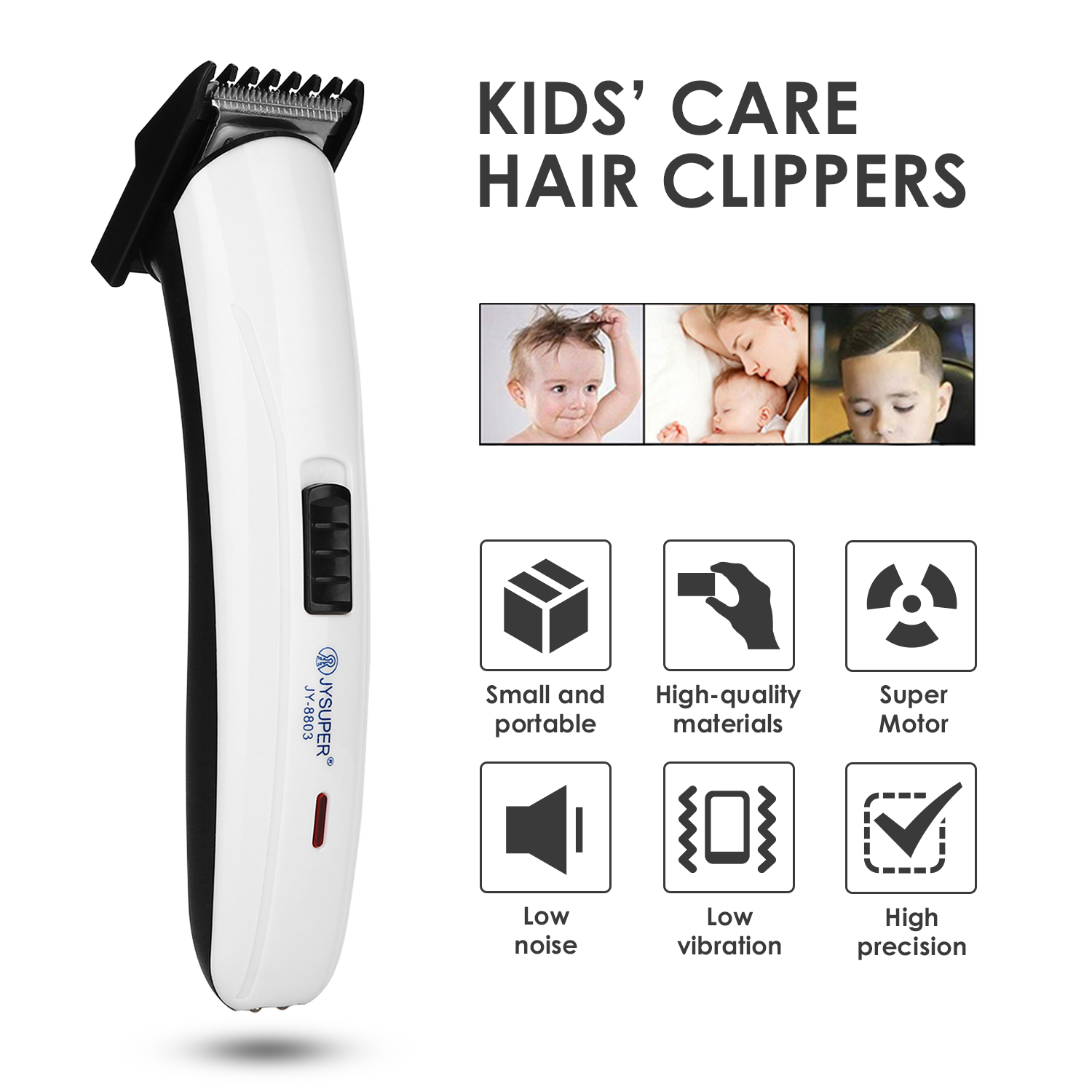 Kids Hair Care Child Hair Clippers Electric Quiet Trimmer Rechargeable Hair Cutting Machine Low Noise High Precision Kid Trimmer