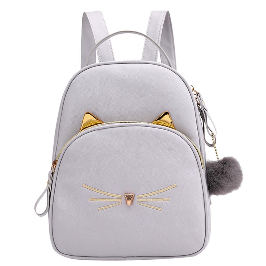 Женский маленький рюкзак MAIOUMY, милая Наплечная Сумка с кошками, женская сумка-Кроссбоди с меховыми помпонами для девочек-подростков, модная сумка, 2020-2