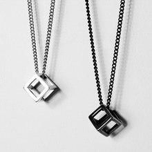 Vnox-colgante de cubo hueco Retro para hombre, collar cuadrado de acero inoxidable Vintage, Gargantilla Punk geométrico, cadena de 24