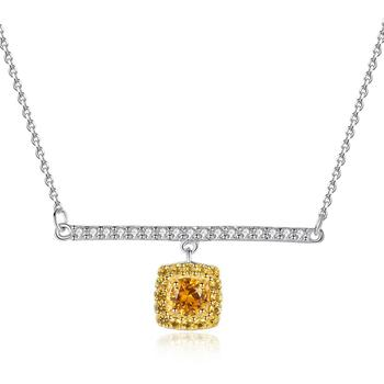 SANYU Real 925 Sterling Silver Link Chain Necklace&Pendant Citrine Golden Necklaces Fasinating Fine Jewelry Colar Feminino 2020 image