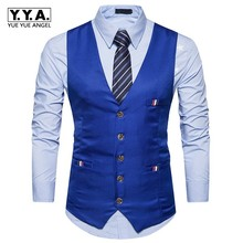 New England Style Dress Vest Men Slim Fitness Casual Single Breasted Formal Suit Vest Blue White Sleeveless Jacket Male