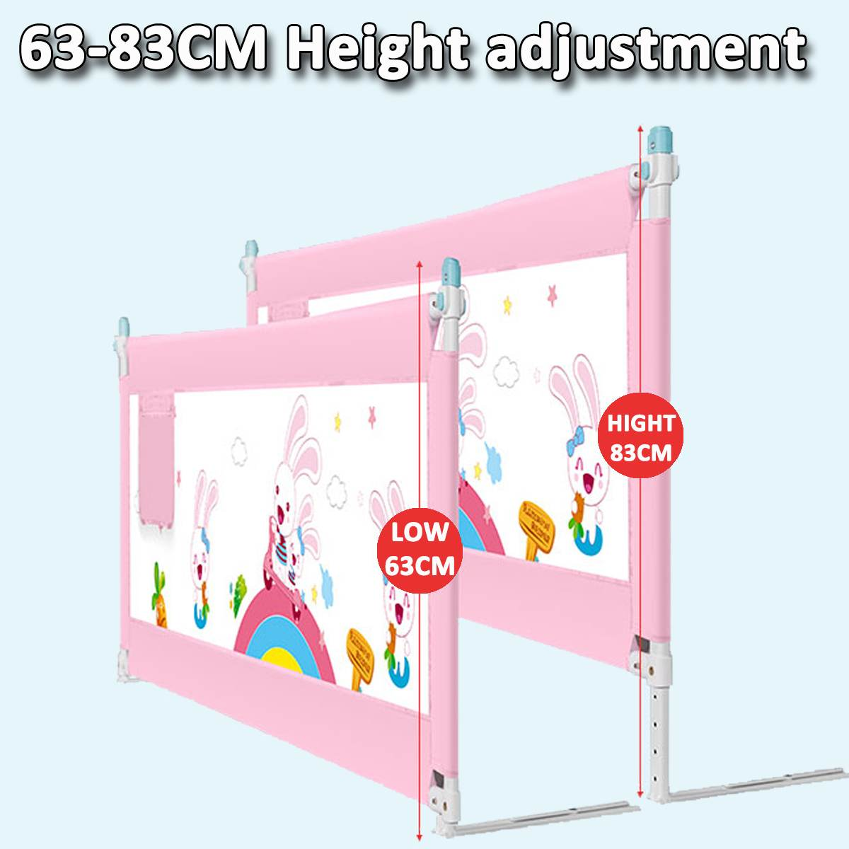 63 to 83 cm Height Adjustable Kid Bed Guard with Foldable Railing Sleep for Baby Safety from Falling from Bed 8