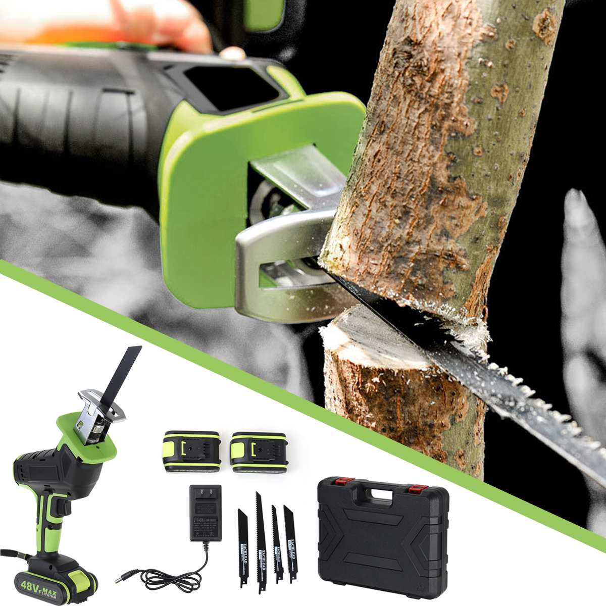 48V 2 Saw Tool Drillpro Reciprocating New Cutters Woodworking Saw 1 Battery Portable Metal  4 Cordless With Wood Cutting Blades